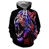 ZZBO Unisex Hoodie Sweatshirt 3D Tiger Druck Kapuzenpullover Langarm Pullover Coole Kapuzenpullover für Herren und Damen Hooded Sweatshirt mit Kängurutasche weiß Zugband S-XXXL