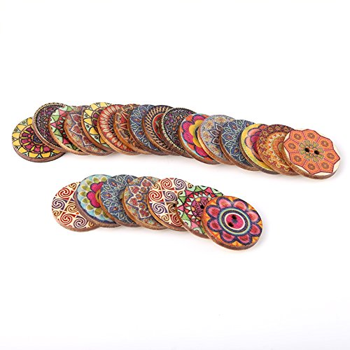 100 pezzi modello misto bottoni in legno vintage con 2 fori per cucito fai da te decorativo 25mm