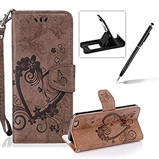 For iPhone 6S Strap Portable Flip PU Leather Case,For iPhone 6 [Brown Solid Color Design] Magnetic Smart Leather Folio Carrying Cover,Herzzer Elegant Premium Slim [Love Hearts Flower Embossed] Inlaid Wallet Wrist Strap Case Stand Function Protective Phone Cases Cover For iPhone 6/6S 4.7 inch + 1 x Black Cellphone Kickstand + 1 x Black Stylus Pen