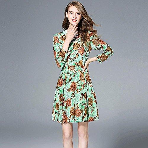 WZW Aderente piedi collare manica lunga Grande spazzata delle donne di stampa del velluto vestito di un pezzo . 4xl . color