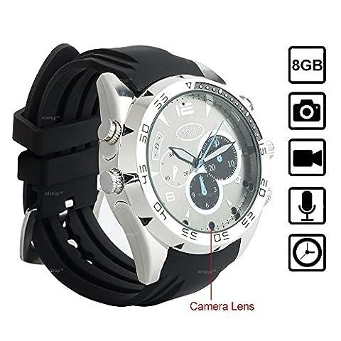 WISEUP 8GB 1920x1080P HD Camera Espion dans Mpntre Mini Caméscoupe Video avec la Fonction d'Enregietrement Vocal et de Photographie