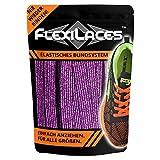 FLEXILACES - elastische Schnürsenkel | nie Wieder Schuhbänder binden - Glitzer-VIOLETT