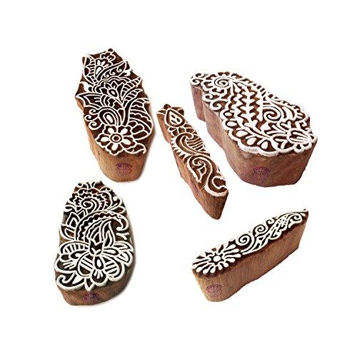 Motif Damast und Finger Holz Stempel für Drucken (Set von 5) ()