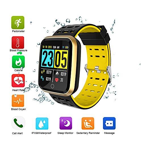 OOPPEN Pulsera Actividad Impermeable Fitness Tracker Bluetooth Pulsera Inteligente Podómetro Monitor de Sueño Despertador Notificación de SMS Llamada para iOS Android (Yellow)