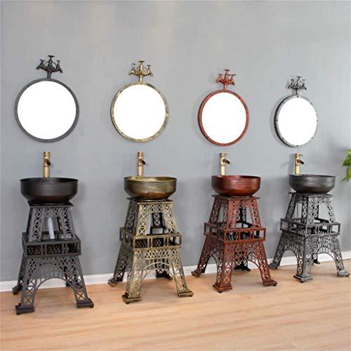 MU Hogar Lavabo, Arte hierro, Personalidad Torre Loft Industrial Estilo de pie fregadero cuarto de baño con grifo,Plata