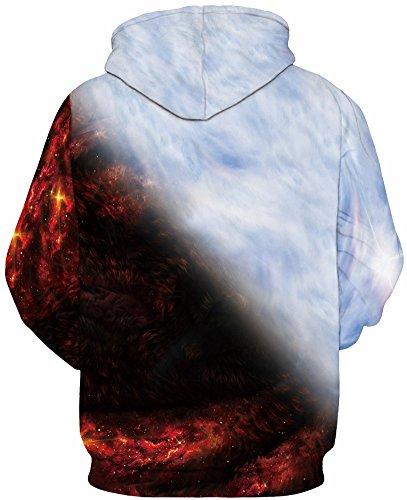 TDOLAH Damen Herbst Winter Kartoon Weihnachten Pärchen Sweatshirts Spaß Textildruck mit Kapuze Pullover Strickjacke Flammen Doppelwolf