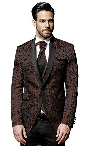 Herren Anzug - 8 teilig - Schwarz Bordeaux Rot Designer Hochzeitsanzug TOP ANGEBOT NEU PC_19BOR (60)