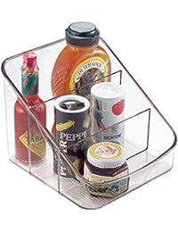 InterDesign Linus Caja para cocina, organizador de plástico con 3 compartimentos, organizador de condimentos