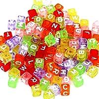 NiceButy 200 PCS DIY colorido de 6 mm * 6 mm de letra del alfabeto del cubo de Cuentas A-Z una variedad de granos para las pulseras para niños Herramientas y decoraciones