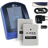 2 Batteries + Chargeur (USB/Auto/Secteur) pour EN-EL14a / Nikon DF, D3300, D3400, D5300, D5500 / Coolpix P7800 [Chip Infolithium optimisé - 7.2V - 1100 mAh]