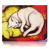 CanvasArts Weiße Katze - Franz Marc - Leinwand Bild auf Keilrahmen Wandbild 09.1404 (100x80 cm, einteilig)