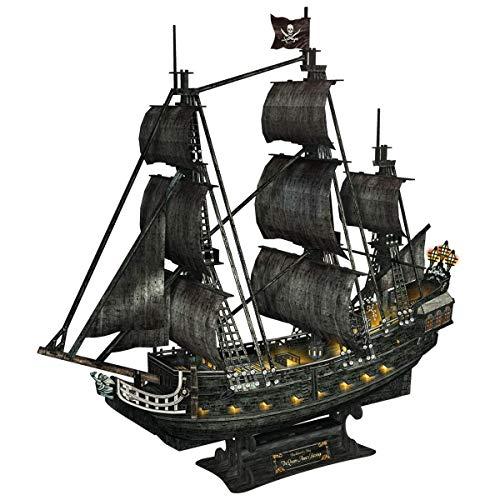 Desconocido Luz LED misteriosa reina venganza 3D Puzzle modelo buque, piratas negro perla DIY 3D Ship modelo de juguete regalo