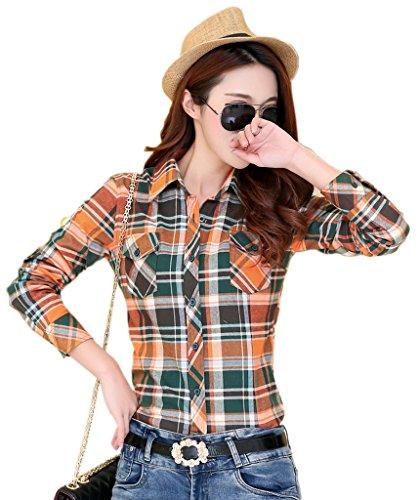 Smile YKK Chemisier Femme Manche Longue Blouse Coton Col Chemise T-shirt à Carreaux Automne Jaune Vert