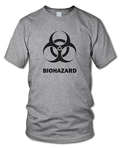 shirtloge - BIOHAZARD - Fun T-Shirt - in verschiedenen Farben - Größe S - XXL Grau-Meliert (Schwarz)