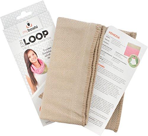 myboshi Loop Webschal Sand Kurzwaren für Stricken und Häkeln, Baumwolle, 40 x 24 x 0.5 cm