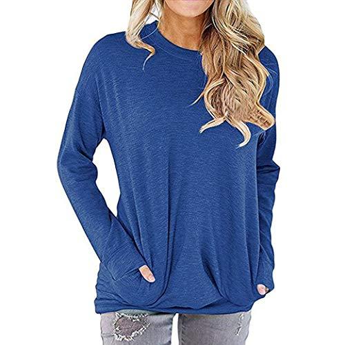 Bazhahei donna top,maglie manica lunga donna camicia in cotone tasca t-shirt maniche lunghe blouse elegante camicette donna lunghe manica lunga - autunnali donna manica lunga top