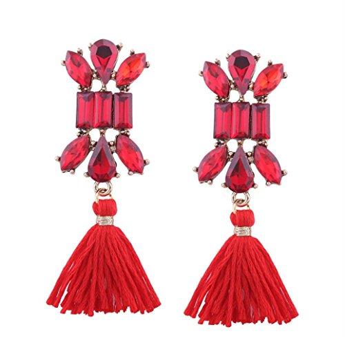 Kostüm Mit Perlenohrring Dem Mädchen (Art- und Weiseböhmische Ohrring-Frauen-lange Troddel-Franse baumeln Ohrring-Schmucksachen HKFV ,Lange Troddel Ohrringe)