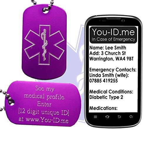 Demenz Medical Alert ID SOS Halskette violett Graviert Aluminium Armee Anhänger Dog Tag Schmuck. Smartphone Gerät Medic Alert Service www.you-id.me. Notfall Identität Talisman SMS - Kunden-id-nummer