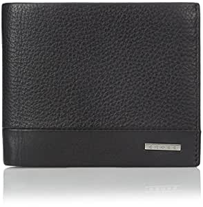 Cross Folded ID Card Leather Case, Black, One Size