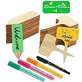 FHzytg 70 Stück Pflanzschilder Bambus mit 4 STK Marker Pen, Pflanzenstecker zum Beschriften für Baumschulen Pflanzenzucht Zierpflanzen Topfkräuter Blumen Gemüse