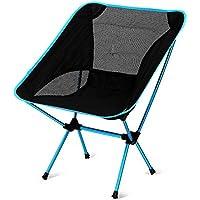 Apoyo 220lbs Portable pesca camping senderismo ultraligero de picnic al aire libre viajar deportes con altura ajustable - Compact Silla plegable en una bolsa de transporte azul celeste