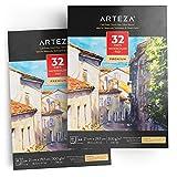 ARTEZA Aquarellblock | A4 210x297 mm | 2er-Pack mit Jeweils 32 Blättern | Klebebundes, Säurefreies 300 g/m² Aquarellpapier im EU-Format | Ideal für Aquarelltechniken und Mischtechnik