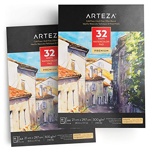 ARTEZA Bloc de dibujo para pintar acuarelas | Tamaño A4 | Pack de 2 blocs | 32 hojas x 2 | Papel de 300gsm prensado en frío | Cuadernos para acuarela y medios mixtos