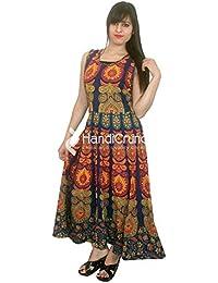 Exportaciones hechas a mano de plumas de pavo real Mandala vestido de noche sin mangas largo