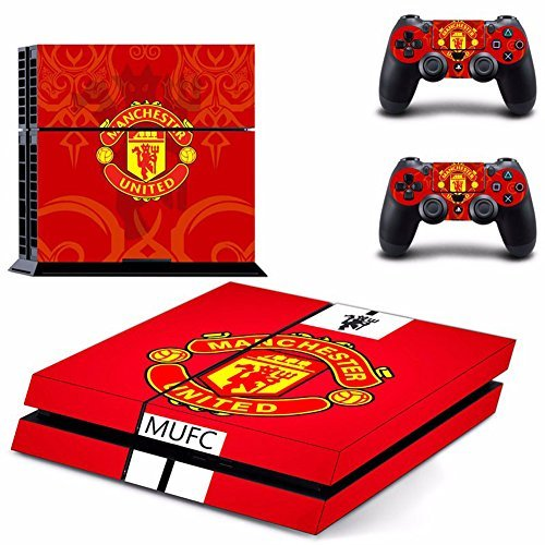Richipy Stickers FC Manchester United Football PS4 Skin Stickers For Playstation 4 Console + 2 Pcs Vinyl Stickers For PS4 Controller Games by Richipy Stickers