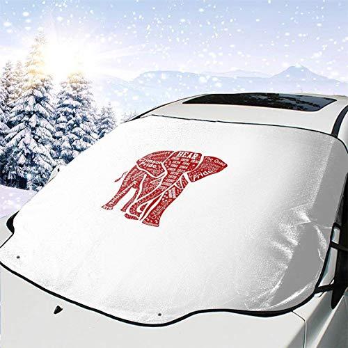 Mattrey Alabama - Parasol para Parabrisas de Coche, diseño de Elefante Rojo, Negro, Talla única
