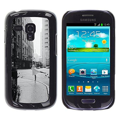 WonderWall ( Non Per S3 I9300) Carta Da Parati Immagine Custodia Rigida Protezione Cover Case Per Samsung Galaxy S3 MINI I8190 I8190N - strada ballerina annata nero ballo bianco