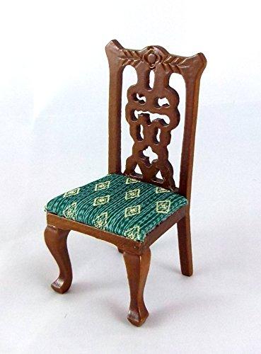 Puppenhaus Miniatur Esszimmer Möbel Viktorianisch Walnuss & grün Beistellstuhl