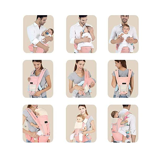 Azeekoom Baby Carrier, Ergonomic Hip Seat, Baby Carrier Sling with Fixing Strap, Bibs, Shoulder Strap, Head Hood for Newborn to Toddler from 0-36 Month (Pink) Azeekoom 【More Ergonomic】 - Baby carrier for newborn has an enlarged arc stool to better support the baby's thighs, the M design that allows the knees to be higher than the buttocks when your baby sits, is more ergonomic.The silicone granules on the stool provide a high-quality anti-slip effect that prevents the baby from slipping off the stool. 【Various Methods of Carrying】- There are 5 combinations of ergonomic baby carrier and a variety of ways to wear them.Hip Seat/Fixing Strap + Hip Seat/Shoulder Strap + Hip Seat/Strap + Hip Seat/Strap, 5 combinations to meet your needs.Fixing Strap frees your hands and prevent your baby from falling over the stool.The shoulder straps reduce the burden on your waist and make you more comfortable. 【More Comfortable】 - The baby carrier is made of high quality cotton fabric with 3D breathable mesh for comfort and coolness. The detachable sunshade provides warmth in winter and fresh in summer. The detachable cotton slobber allows you to Easy to change. At the same time, the zip closure is designed for easy removal and cleaning. 6
