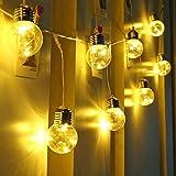 LE Guirnalda de luces LED 8 Modos, Temporizador, Mando incluido, Blanco cálido, decoración de fiestas, árbol de navidad, terraza