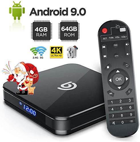 【2019 Dernière Version】 Android TV Box 9.0 【4 GB + 64 GB】 USB 3.0 3D 4K H.265 HDR Lecteur Multimédia Bluetooth 4.0 Boîtier TV Quad Core Réel - Bomaker A8