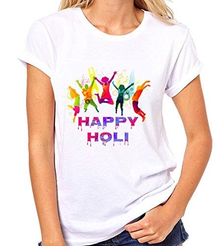 Crazy Sutra Premium Dry-FIT Polyester Unisex Half Sleeve Casual Printed Holi Special Tshirt |Funky Tshirts (T-HappyHoli-X_L-Women)