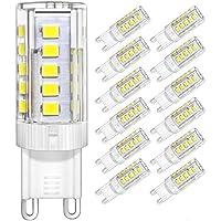 DiCUNO Bombillas LED G9 De 4W Equivalentes A Bomlillas Halógenas De 40W, Blanca Fría 6000K 400LM,G9 Cerámica Base, Pack De 12[Clase De Eficiencia Energética A+]