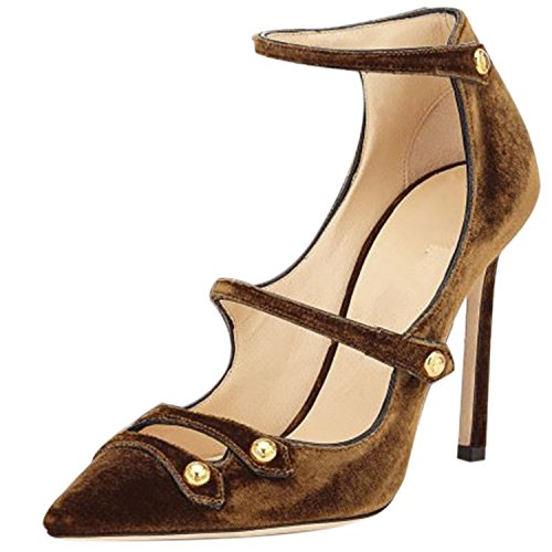Oasap Damen Spitz Knöchelriemen Pumps Brown