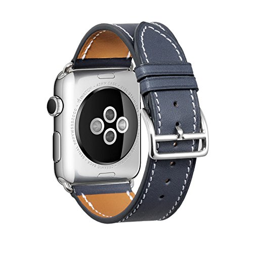 iStrap Compatible/Replacement for Apple Watch Armband Uhrenarmband 38mm 42mm 40mm 44mm iStrap Grobe Textur Ersatz Lederarmband Sport Kompatibel iwatch Series 1 Series 2 Series 3 Series 4