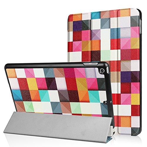 NOKEA Schutzhülle mit Kunst-Muster, leicht, Hochwertiges PU-Leder, faltbar, mit automatischer Aufwach-/Schlaf-Funktion, Ersatz für Apple iPad 6. / 5. Generation, iPad 9.7 2018/2017, Magic Cube -