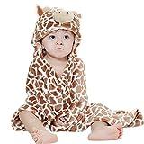 Asciugamano da Bagno per Bambini con Cappuccio Accappatoio Animale Coperte per Ragazza Ragazzo-Très Chic Mailanda (Taglia unica, Marrone)