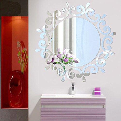Kicode Art mode moderne et élégant design amovible Miroir bricolage 3D Sticker mural Wall Sticker Pour Chambre Salon Chambre Décoration