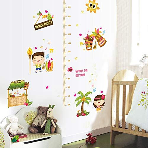 Sticker mural Bande Dessinée Enfants Grandir Mesure De La Taille Heureux Garçon Fille Beach Party Chambre D'enfant Bébé Chambre Décor Amovible Stickers
