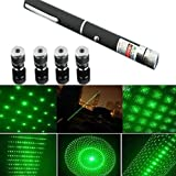 #8: MOHAK New Green Ray Laser Pointer Pen 5mW 532nm Burning Lazer Visible Beam With Star Head Caps (Battery Included)