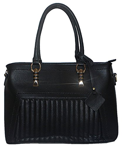 Kukubird Beatrix Ecopelle Striscia Verticale Impunture Dettaglio Design Top-manico Tracolla Tote Handbag Black