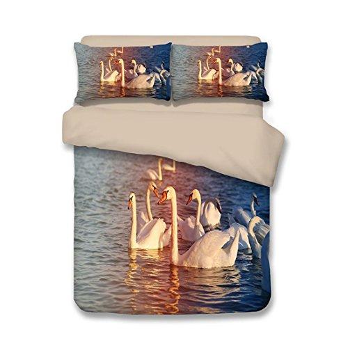 FGDJTYYJ 3D Schwan Print bettwäsche Set Schlafzimmer königin König Bett größe mikrofaser weiche bettbezug Sets 3 teilige 1 bettbezug,2 Kissenbezüge, 170, c