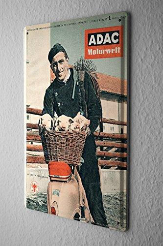 Blechschild Nostalgie Werbeplakat ADAC Motorwelt Zeitschrift 1956 Schornsteinfeger 20x30 cm (Zeitschrift 1956)