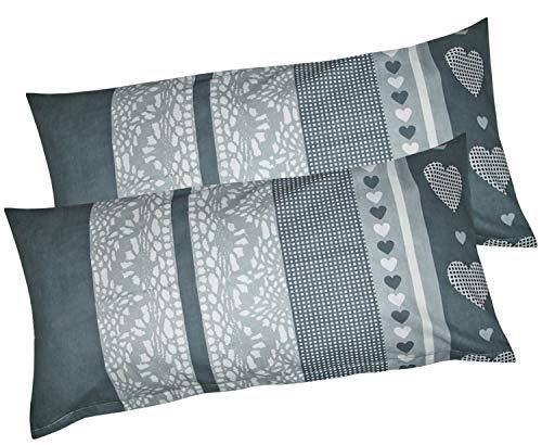 Baumwoll Renforcé Kissenbezug – 2er Set in 40x80cm – Streifen Herzen in grau und Anthrazit – Kopfkissenbezug, Kissenhülle, Dekokissenbezug 100% Baumwolle