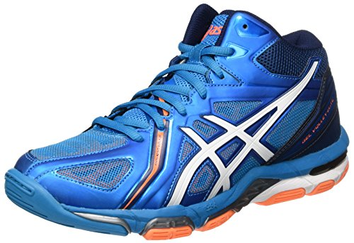 Asics Herren Gel-Volley Elite 3 MT Volleyballschuhe, Blau (Blue Jewel/White/Hot Orange), 42.5 EU (3 Volleyball-schuh)