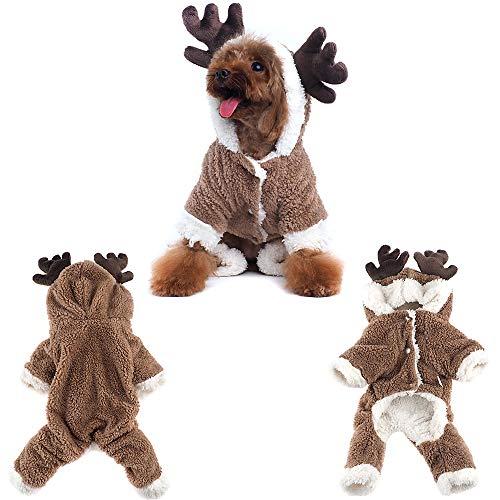 Haustier Rentier-Mantel Weihnachten Elch Kostüm Hund Kleidung Winter Welpen Urlaub Kleidung Outfit Hund Hoodie Mantel Party Dress Up, XS, - Urlaub Kostüm Für Hunde